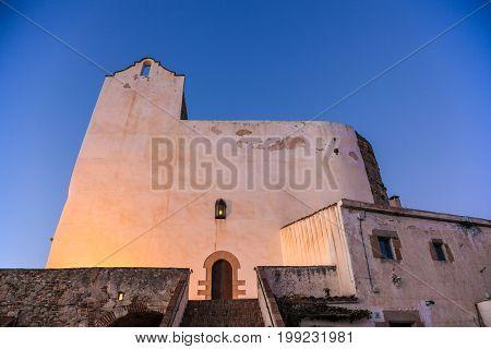 SANT POL DE MAR SPAIN - FEBRUARY 12: Sant Pau church in San Pol de Mar on the Mediterranean coast Catalonia Spain