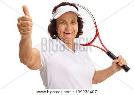 Elderly tennis player making a thumb up gesture isolated on white background