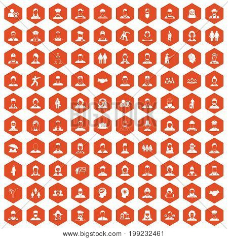 100 people icons set in orange hexagon isolated vector illustration