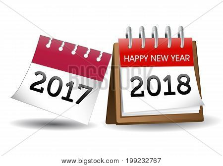 happy new year illustration calender 2018 on isolated white background