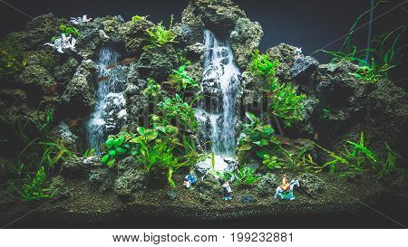 HO CHI MINH / VIETNAM, FEBRUARY 2017 - Large Fish Aquarium Tanks For Sale in Exhibition