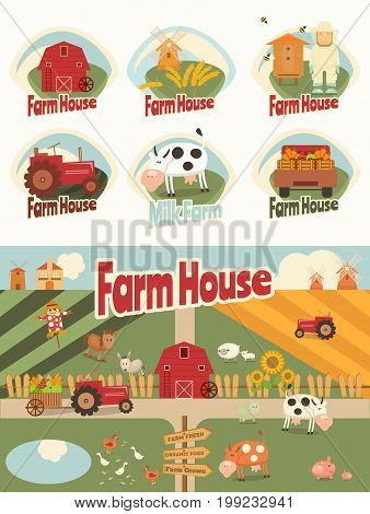Set of Farm Labels and Elements in Retro Style and Farm Household and Farmer Agriculture Poster. Vector Illustration.