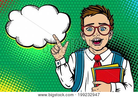 Wow face. Cute surprised school boy in glasses with open mouth with backpack holding notebooks points on empty speech bubble. Vector illustration in retro pop art comic style. Back to school poster.