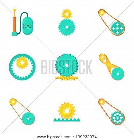 Engine elements icons set. Cartoon set of 9 engine elements vector icons for web isolated on white background