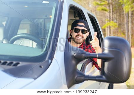 Handsome Attractive Happy Men Driver Smiling While Driving Car
