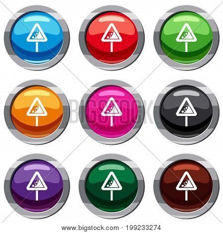Falling rocks warning traffic sign set icon isolated on white. 9 icon collection vector illustration