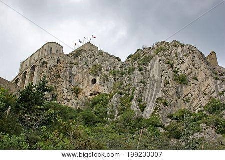 Sisteron Citadel on a rock crag in France