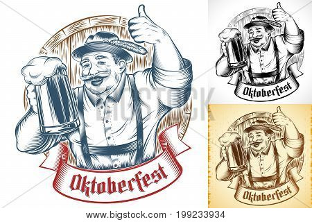 Bavarian Man holding glass of beer. Lettering Oktoberfest on ribbon. Wooden beer barrel. Traditional german clothes hat Trachtenhut pants Lederhosen. Thumbs-up gesture. Vector ink hand drawing print