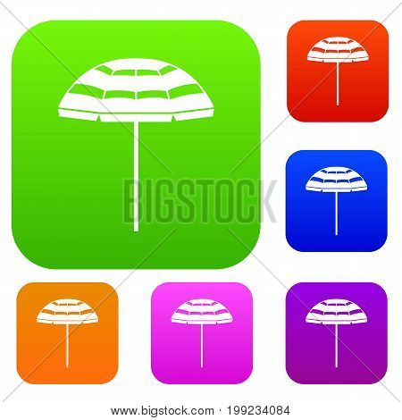 Beach umbrella set icon in different colors isolated vector illustration. Premium collection