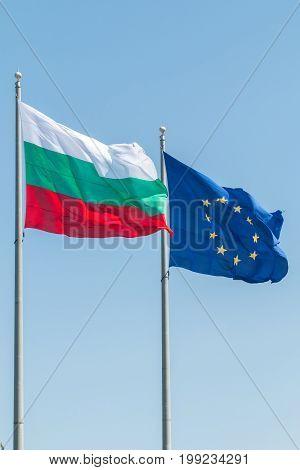European Union and Bulgaria flags on pylons
