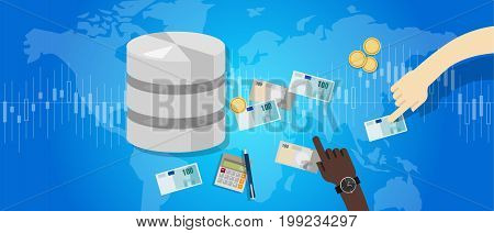 big data monetization selling database pay with money for storage world online block chain vector