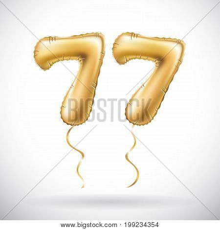 Vector Golden Number 77 Seventy Seven Metallic Balloon. Party Decoration Golden Balloons. Anniversar