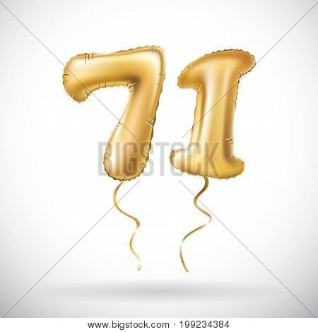 Vector Golden Number 71 Seventy One Metallic Balloon. Party Decoration Golden Balloons. Anniversary