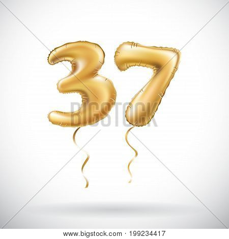 Vector Golden Number 37 Thirty Seven Metallic Balloon. Party Decoration Golden Balloons. Anniversary