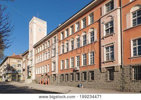 Stara Zagora BULGARIA - APRIL 1 2017: Post office building with clock tower of Stara Zagora Bulgaria. Stara zagora is a nationally important economic center. Located in Southern Bulgaria