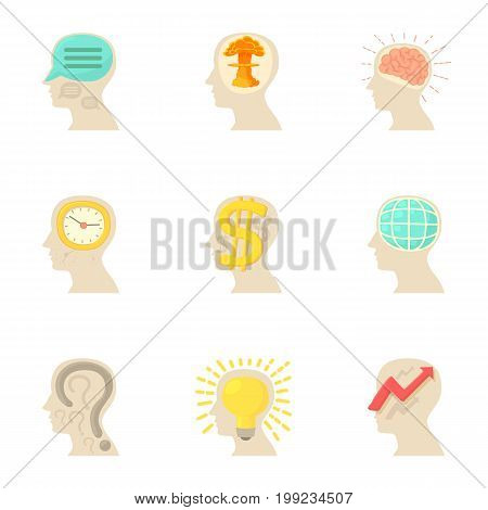Man head with thoughts icons set. Cartoon set of 9 man head with thoughts vector icons for web isolated on white background