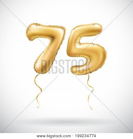 Vector Golden Number 75 Seventy Five Metallic Balloon. Party Decoration Golden Balloons. Anniversary