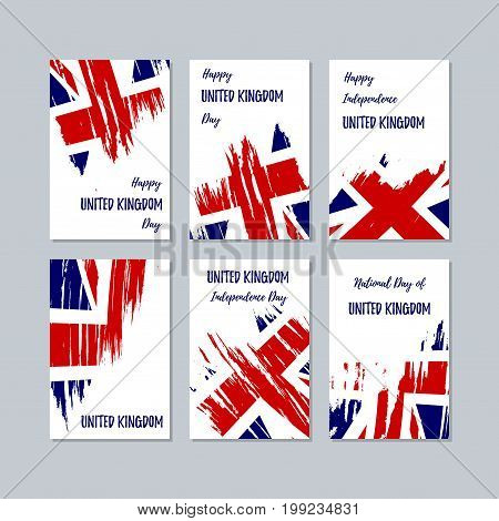United Kingdom Patriotic Cards For National Day. Expressive Brush Stroke In National Flag Colors On