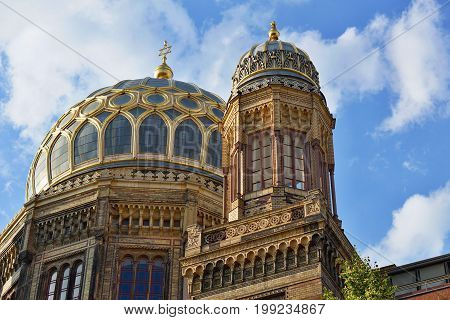 Golden roof of the New Synagogue in Berlin as a symbol of Judaism