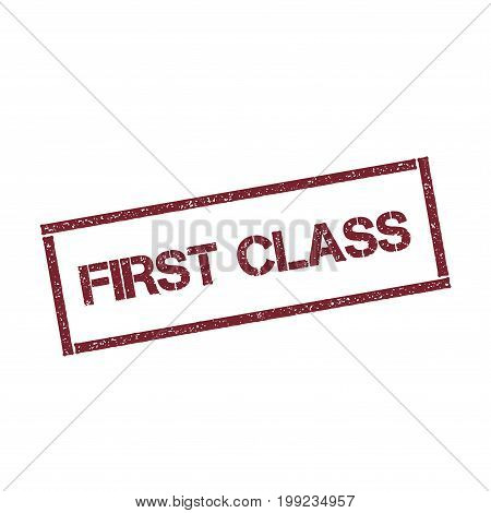 First Class Rectangular Stamp. Textured Red Seal With Text Isolated On White Background, Vector Illu