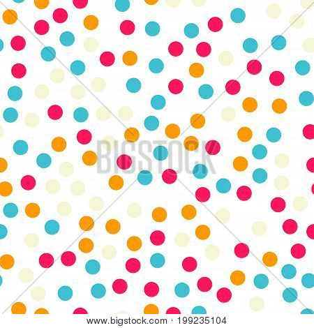 Colorful Polka Dots Seamless Pattern On Black 18 Background. Splendid Classic Colorful Polka Dots Te