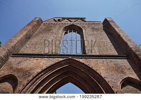 Ruins of the roofless German church Klosterkirche in the central Berlin