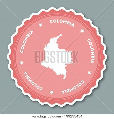 Colombia Sticker Flat Design. Round Flat Style Badges Of Trendy Colors With Country Map And Name. Co