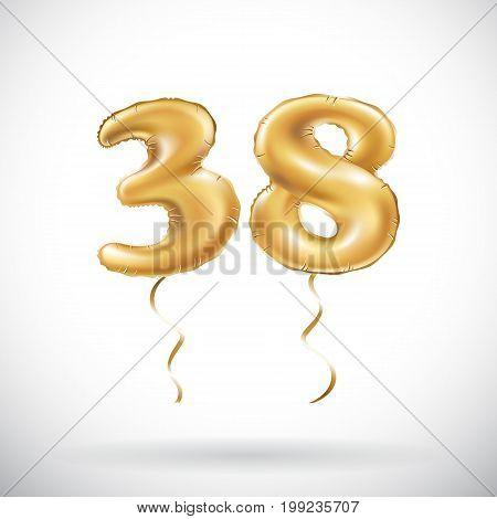 Vector Golden Number 38 Thirty Eight Metallic Balloon. Party Decoration Golden Balloons. Anniversary