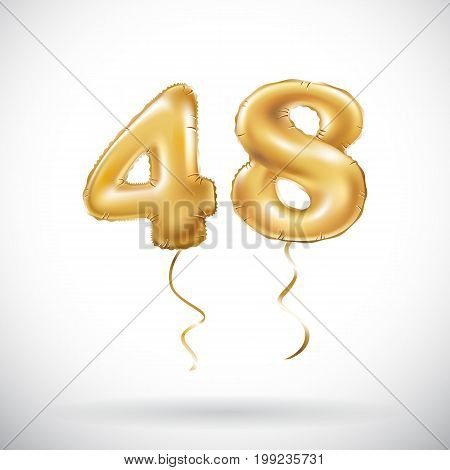Vector Golden Number 48 Forty Eight Metallic Balloon. Party Decoration Golden Balloons. Anniversary