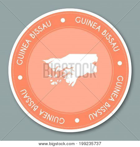 Guinea-bissau Label Flat Sticker Design. Patriotic Country Map Round Lable. Country Sticker Vector I