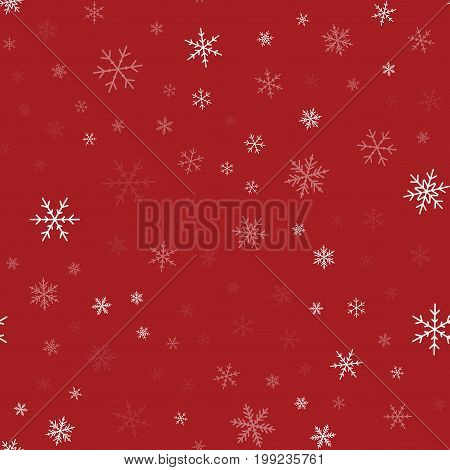White Snowflakes Seamless Pattern On Red Christmas Background. Chaotic Scattered White Snowflakes. I