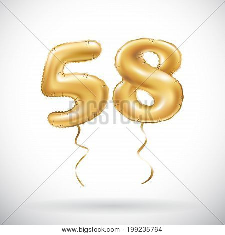 Vector Golden Number 58 Fifty Eight Metallic Balloon. Party Decoration Golden Balloons. Anniversary
