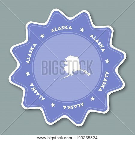 Alaska Map Sticker In Trendy Colors. Travel Sticker With Us State Name And Map. Can Be Used As Logo,
