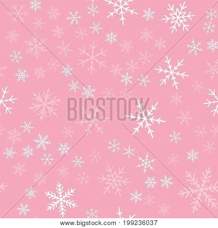 White Snowflakes Seamless Pattern On Pink Christmas Background. Chaotic Scattered White Snowflakes.