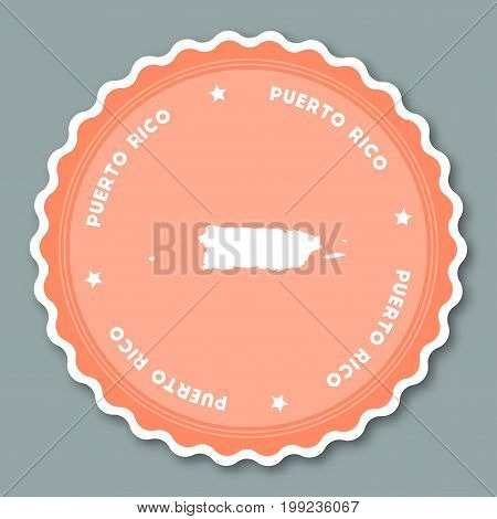 Puerto Rico Sticker Flat Design. Round Flat Style Badges Of Trendy Colors With Country Map And Name.