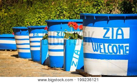 Big flower pots with inscriptions Zia welcome in Kos island Greece.