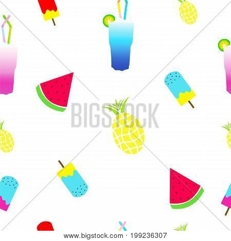 seamless tileable summer texture with ice cream, watermelon, pineapple and cocktail
