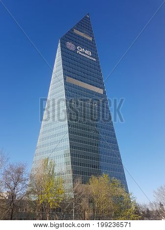 Istanbul Turkey - March 2017: The futuristic skyscraper headquarters building of Finansbank in 4th Levent Distric of Istanbul.