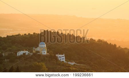 Sunset view from Asfendiou village in Kos island Greece