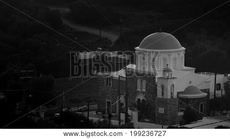 Traditional church in Kos island Greece. Black and white photography.