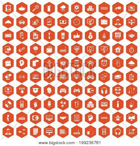 100 programmer icons set in orange hexagon isolated vector illustration