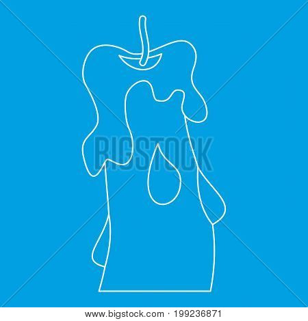Candle icon blue outline style isolated vector illustration. Thin line sign