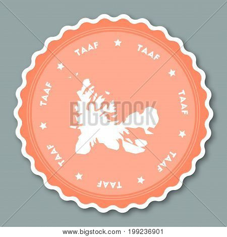 French Southern Territories Sticker Flat Design. Round Flat Style Badges Of Trendy Colors With Count