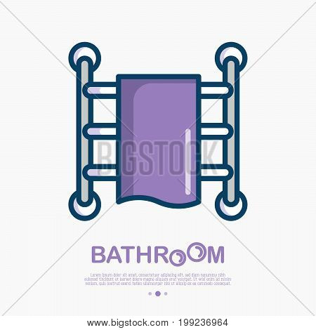Heated towel rail thin line icon. Vector illustration of bathroom equipment.