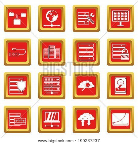 Database icons set in red color isolated vector illustration for web and any design
