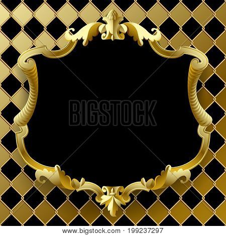 Vintage gold frame with black field on rhomboids background. Retro classic banner