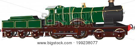 A Vintage Green Passenger Steam Tender Locomotive isolated on white