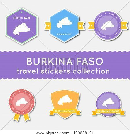 Burkina Faso Travel Stickers Collection. Big Set Of Stickers With Us State Map And Name. Flat Materi