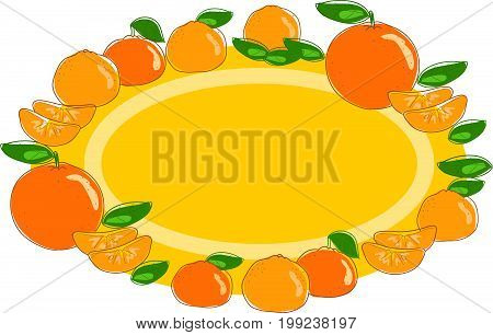 Orange and mandarin fruits oval label vector illustration