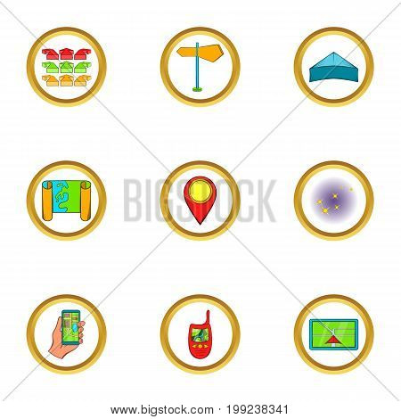 Navigator icons set. Cartoon set of 9 navigator vector icons for web isolated on white background